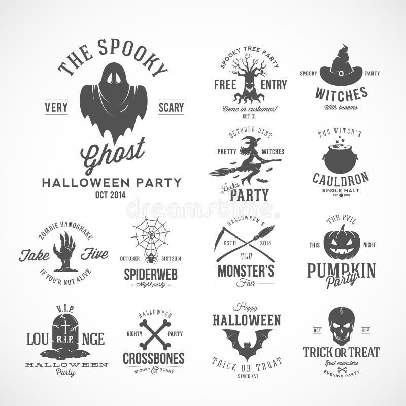 Tappningallhelgonaaftonvektorn förser med märke eller märker mallar Häxa, spöke, skalle, grav, slagträn och andra symboler royaltyfri illustrationer