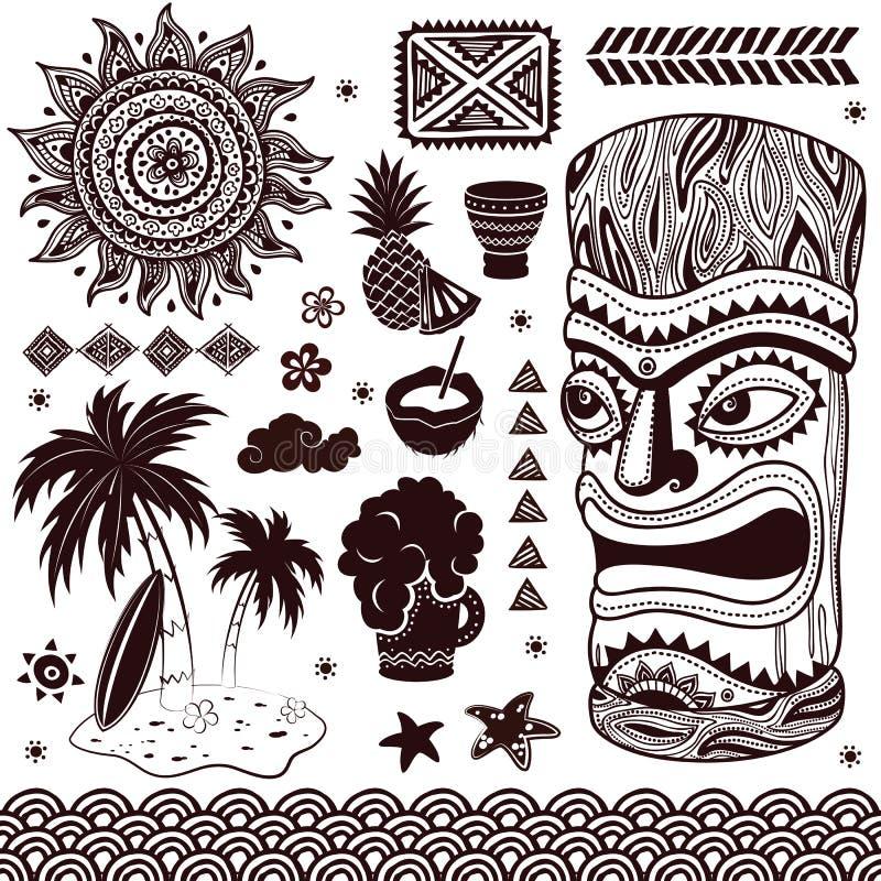 TappningAloha Tiki illustration royaltyfri illustrationer