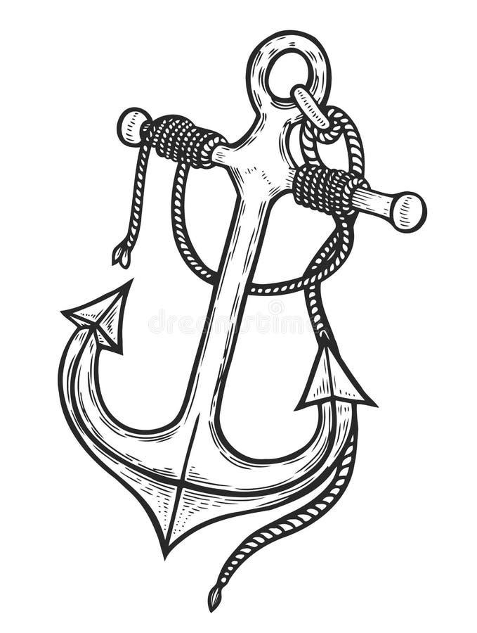 Tappningankare med repet stock illustrationer