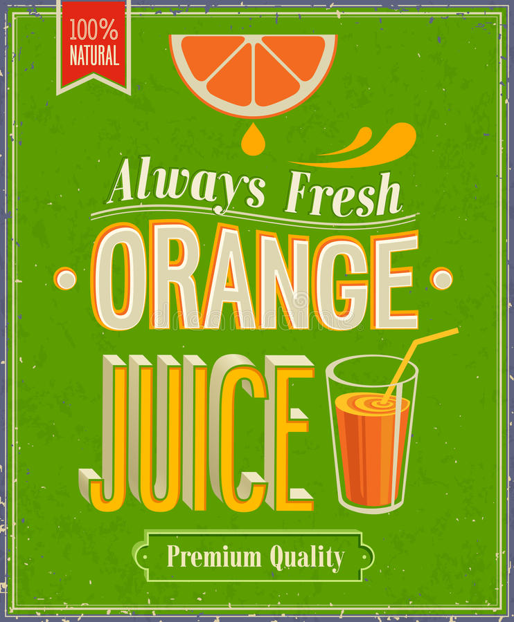 Tappningapelsin Juice Poster. vektor illustrationer