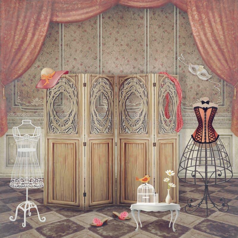Tappningattrapp och en skärm i rummet, innegrej stock illustrationer