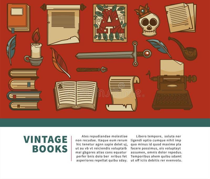 Tappningböcker shoppar volymer manuskript och historieläroböcker royaltyfri illustrationer