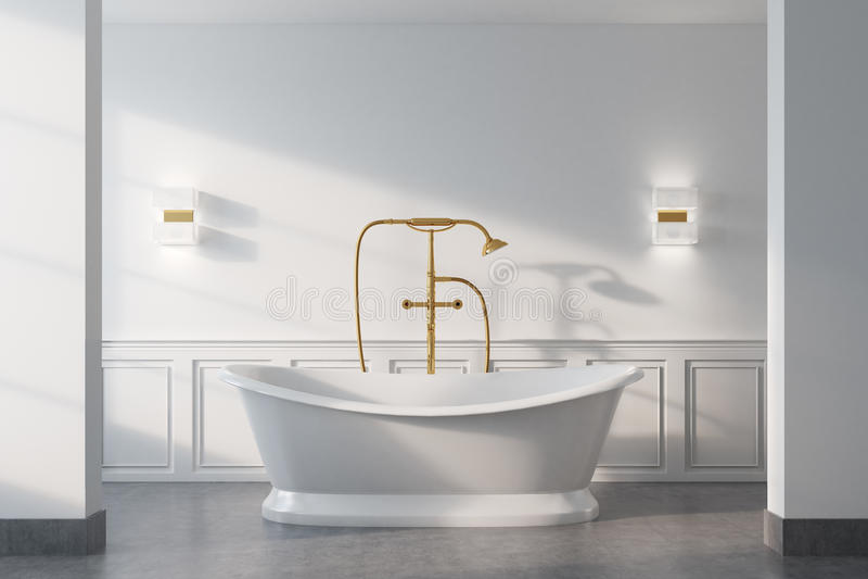 Tappningbadrummet, vit badar, stänger sig upp royaltyfri illustrationer
