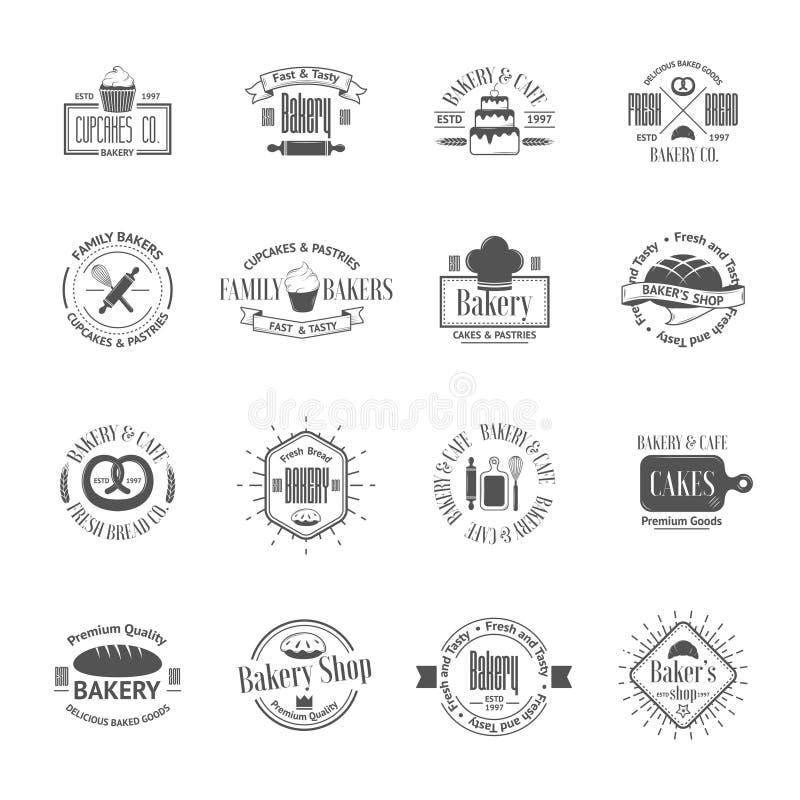 Tappningbagerit förser med märke, etiketter och logoer stock illustrationer