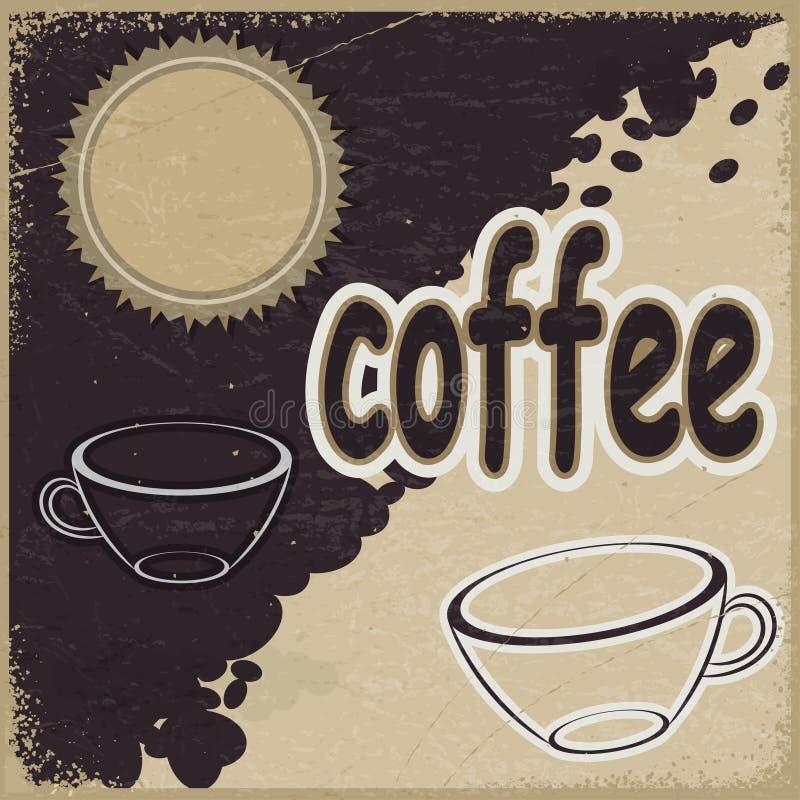 Tappningbakgrund med bilden av koppar och kaffebönor stock illustrationer