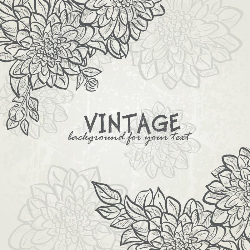 Tappningbakgrund med blommadahlior för din text-EPS10 stock illustrationer