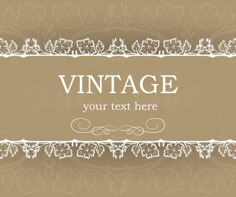 Tappningbakgrund med den dekorativa ramen Elegant designbeståndsdelmall med stället för din text blom- kant stock illustrationer