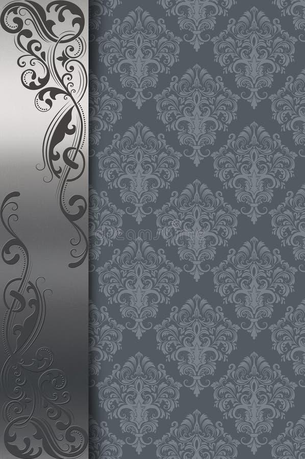Tappningbakgrund med den dekorativa silvergränsen vektor illustrationer