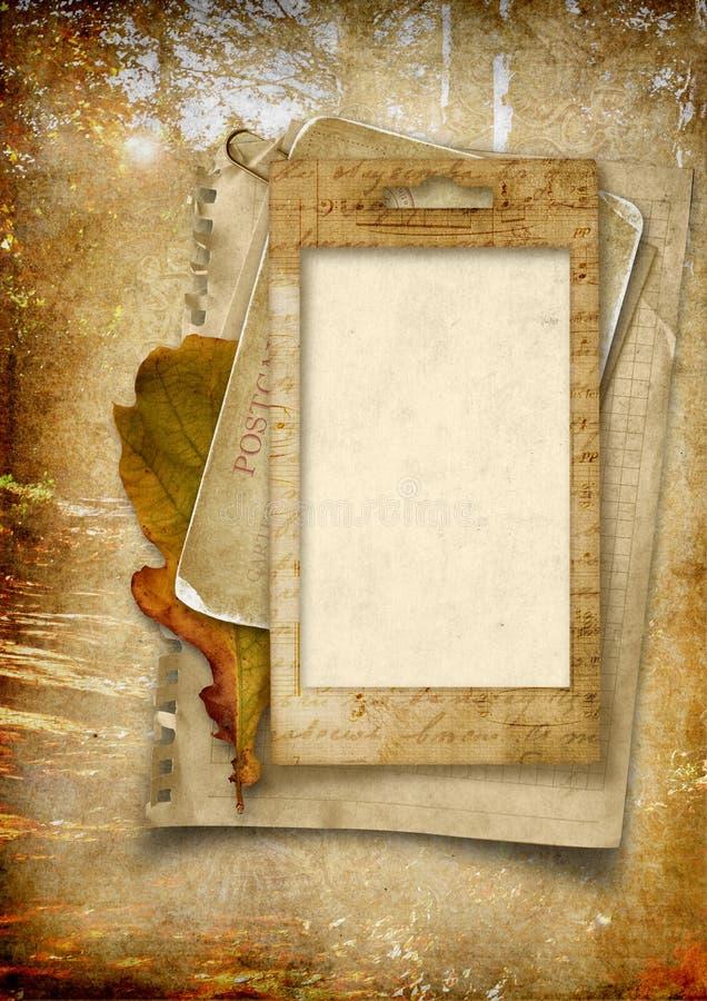 Tappningbakgrund med den gammala fotoramen stock illustrationer