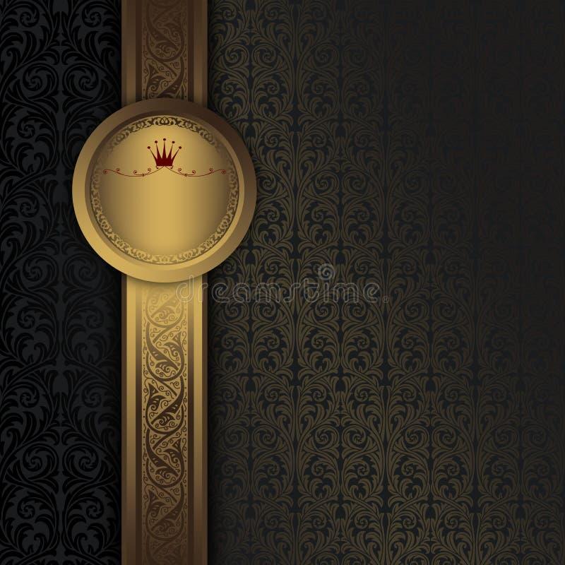 Tappningbakgrund med den guld- ramen och dekorativa modeller royaltyfri illustrationer