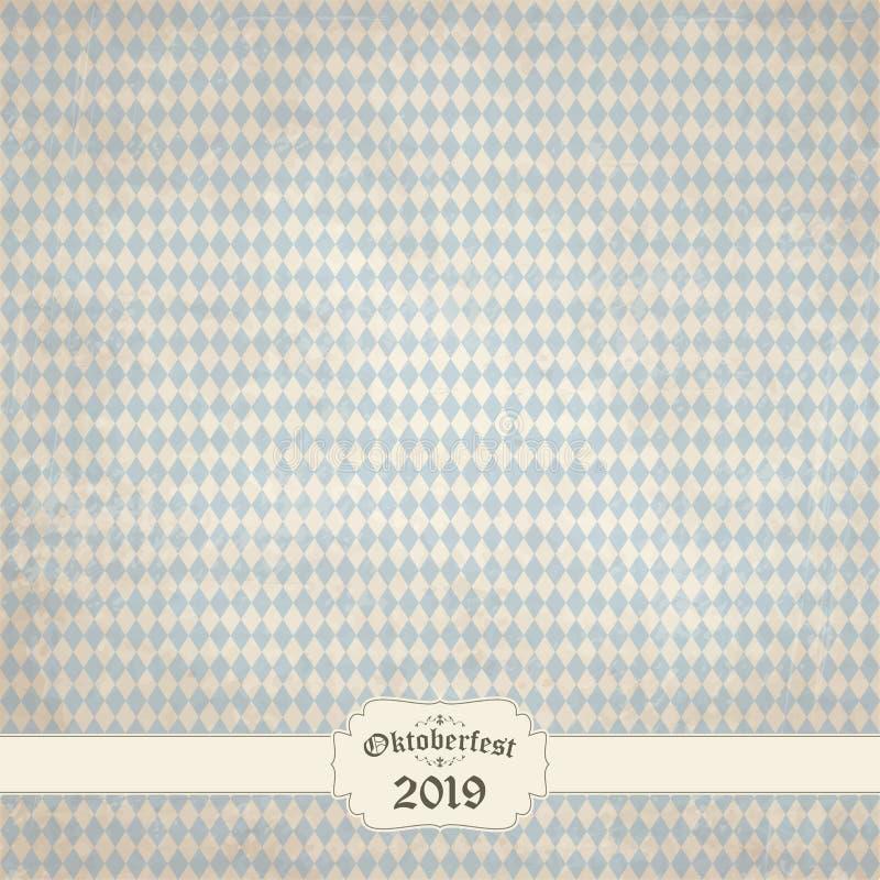 tappningbakgrund med den rutiga modellen f?r Oktoberfest 2019 stock illustrationer