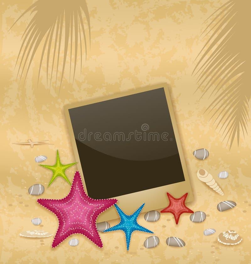 Tappningbakgrund med fotoramen, sjöstjärnor, kiselstenstenar, stock illustrationer