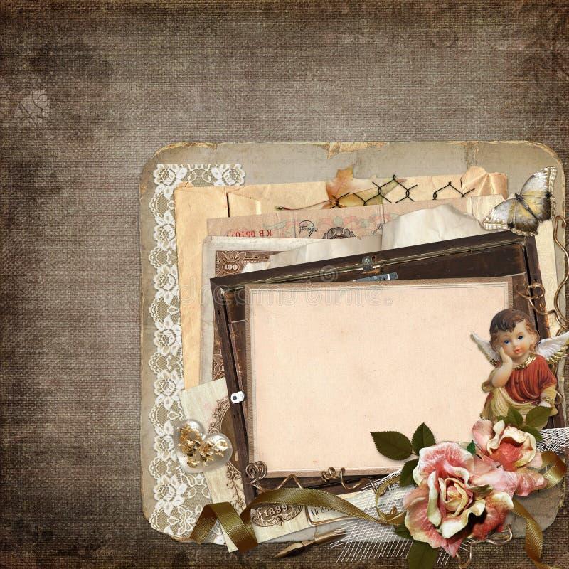 Tappningbakgrund med gamla ramar, änglar, rosor och gamla retro garneringar vektor illustrationer