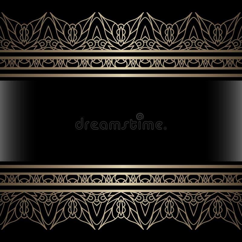 Tappningbakgrund med guld- gränser royaltyfri illustrationer