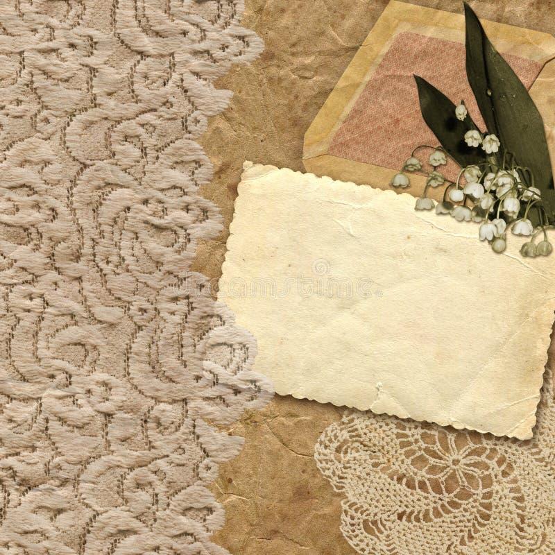 Tappningbakgrund med liljekonvaljer arkivbilder