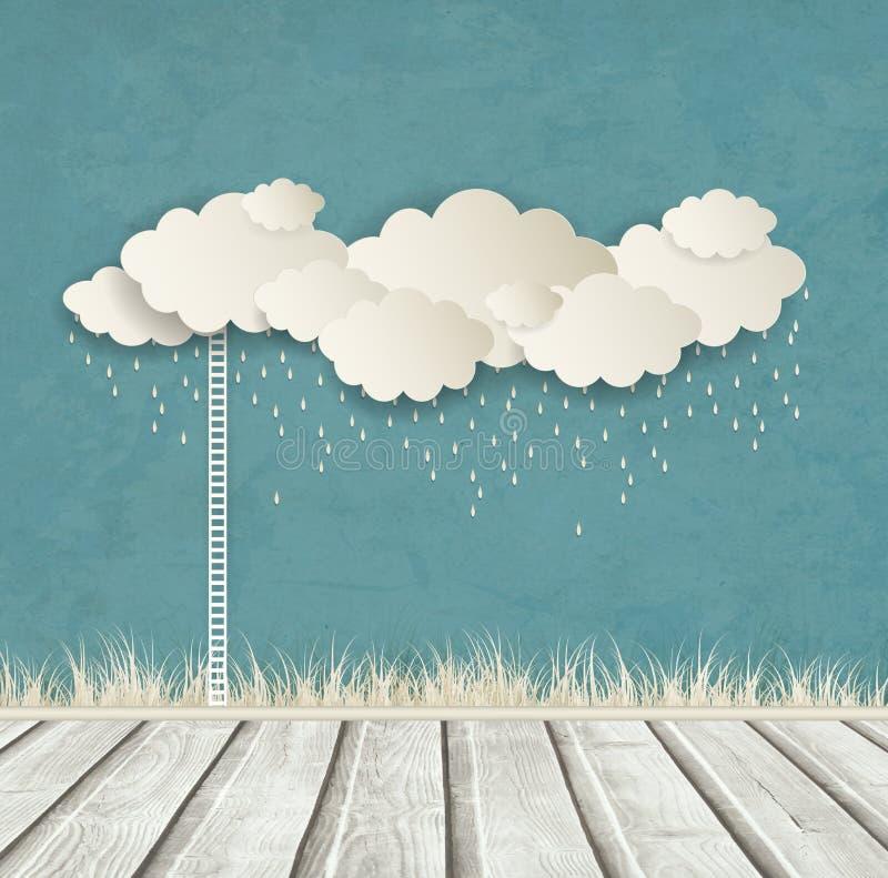 Tappningbakgrund med moln och droppar vektor illustrationer