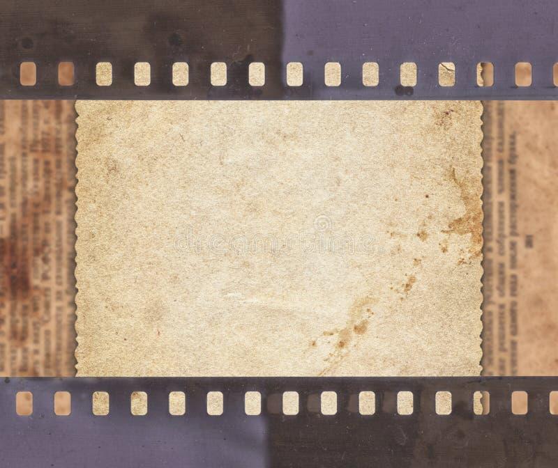 Tappningbakgrund med retro papper, tidningen och gammal filmstri vektor illustrationer