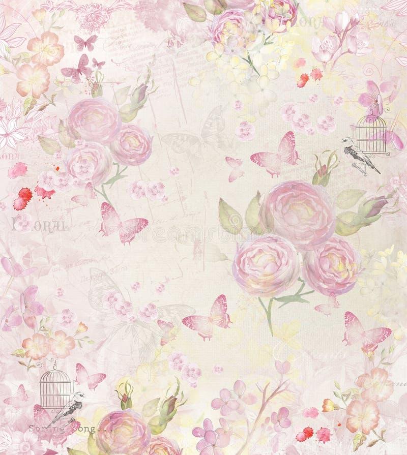 Tappningbakgrund med rosor och fjärilar stock illustrationer