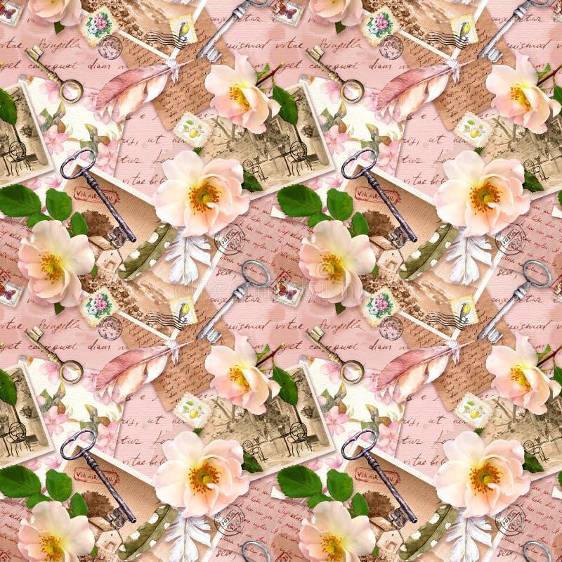 Tappningbakgrund, retro design, åldrigt papper, rosblommor, anmärkningar, vattenfärgfjädrar, tangenter blom- upprepa f?r modell arkivfoto
