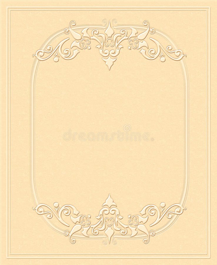 Tappningbakgrund, utföra i relief papper, antikt hälsningkort, inbjudan med blom- prydnader vektor illustrationer