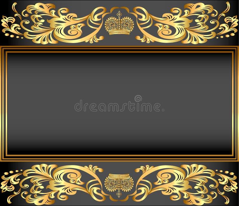 Tappningbakgrundsram med guldprydnader och en krona royaltyfri illustrationer