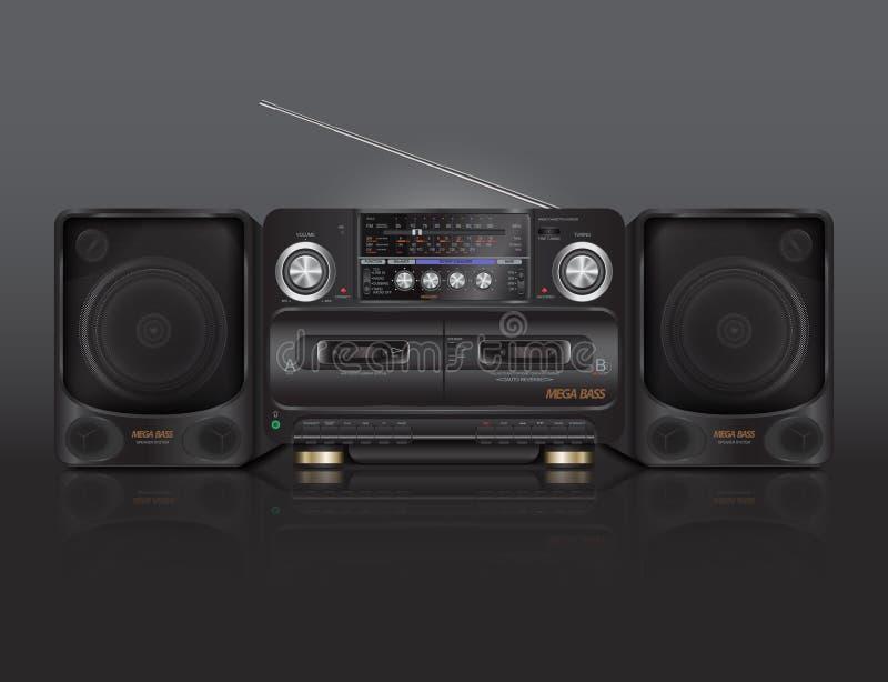 Tappningbandspelare för ljudkassetter med radion royaltyfri illustrationer