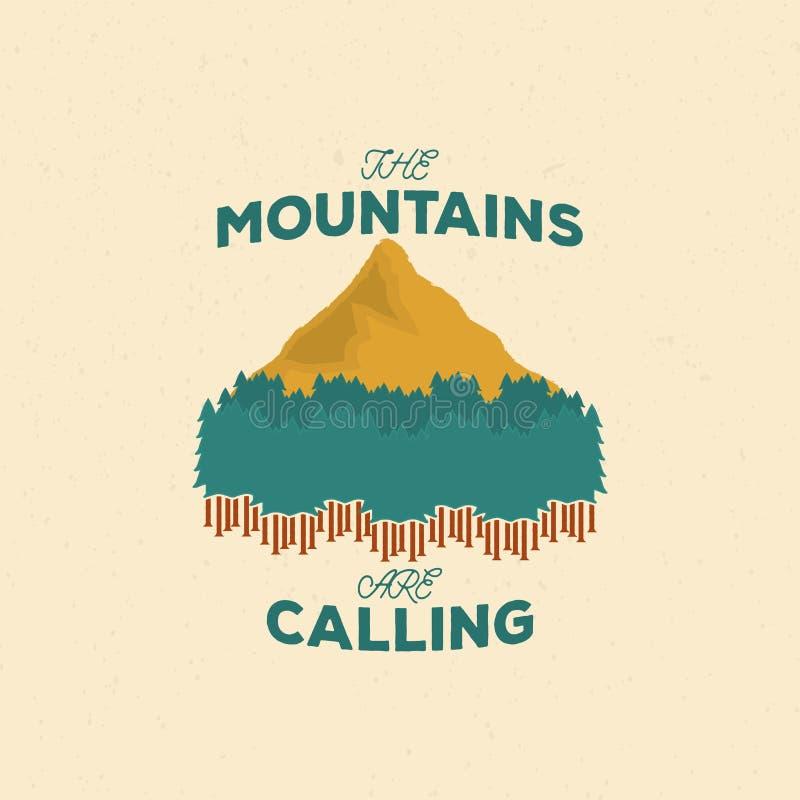 Tappningbergemblem, grafiskt färgemblem med berget och skogkontur i grungestil stock illustrationer