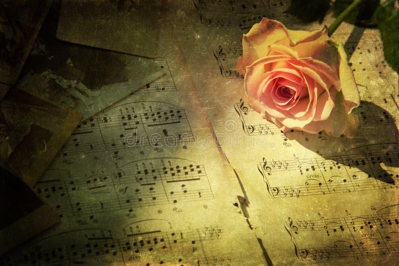 Tappningbild av en rosa färgros med musikanmärkningar fotografering för bildbyråer
