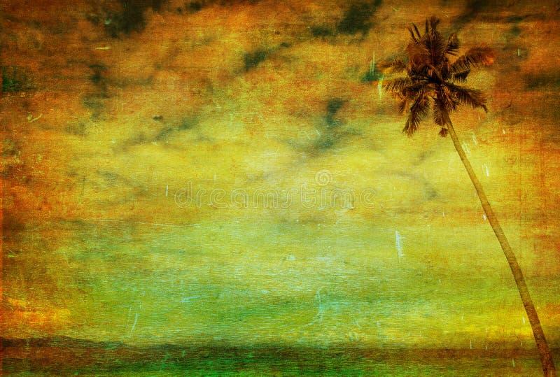 Tappningbild av palmträdet royaltyfri illustrationer