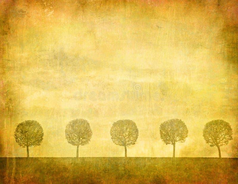 Tappningbild av trees royaltyfri illustrationer