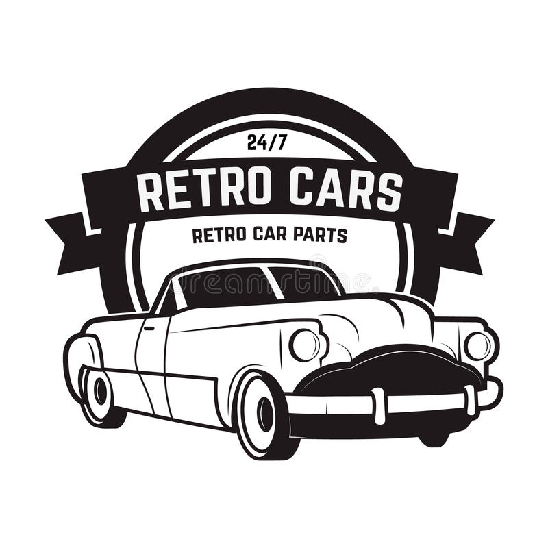 Tappningbilförsäljning Retro bilsymbol Bilreparation royaltyfri illustrationer