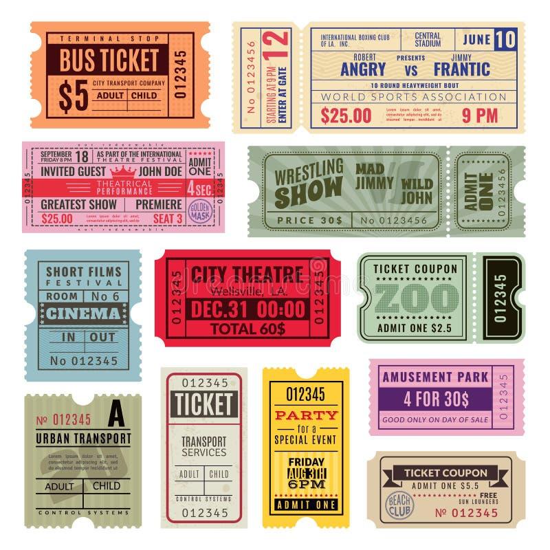 Tappningbiljetter Handbiljett av cirkusen, bion och konsertpartiet Gammal pappers- kupong som reser kryssningtombolakupongen stock illustrationer