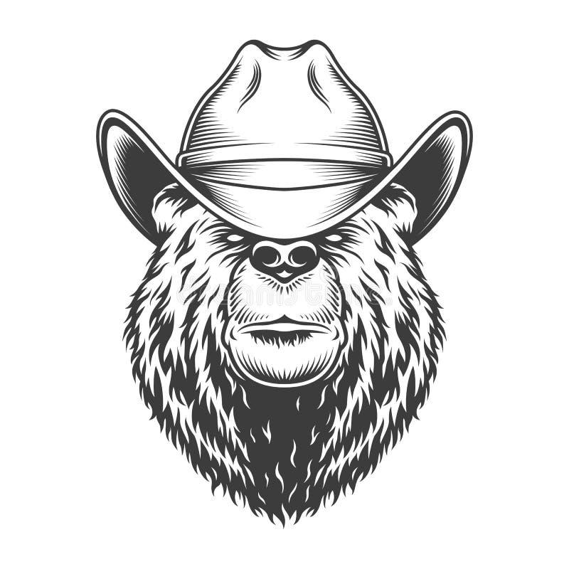 Tappningbjörnhuvud i cowboyhatt stock illustrationer