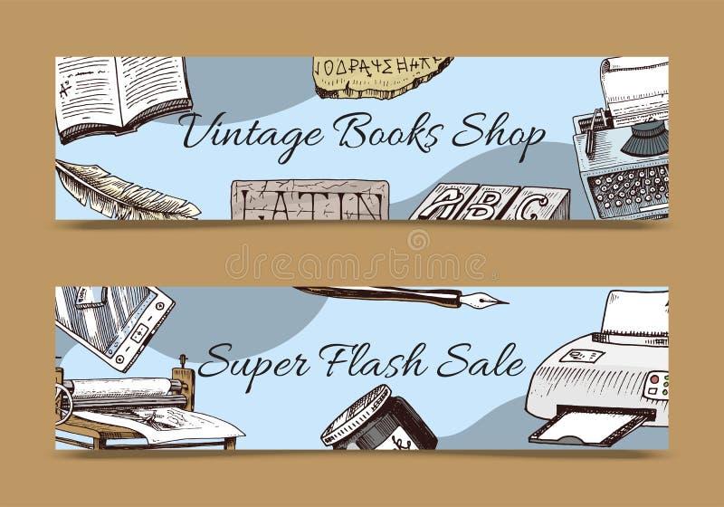 Tappningboken shoppar uppsättningen av banervektorillustrationen Gamla b?cker med pennan och bl?ckhornen f?r f?rgpulvervingpennaf stock illustrationer