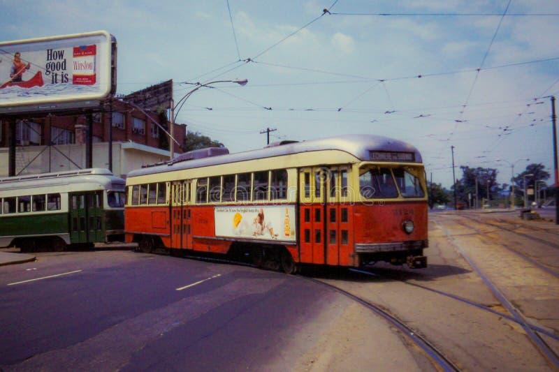 TappningBoston MBTA spårvagn från 1973 royaltyfri fotografi
