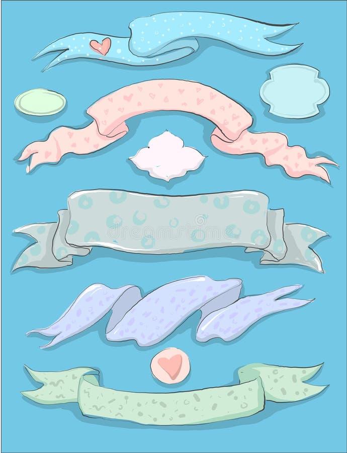 Tappningbröllop eller drog bandsamlingen och ramar för baby shower handen ställde in royaltyfri illustrationer