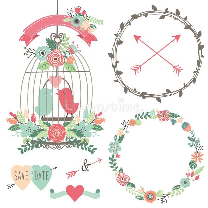 Tappningbröllopblommor och fågelbur stock illustrationer