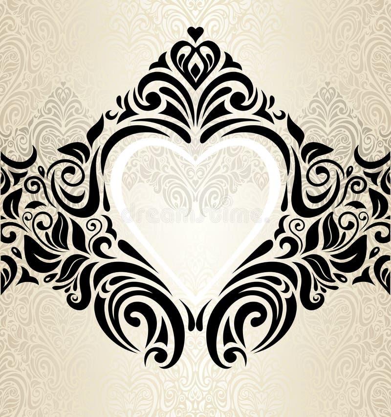 Tappningbröllopguld, ecru & för inbjudantapet för svart trendig bakgrund vektor illustrationer