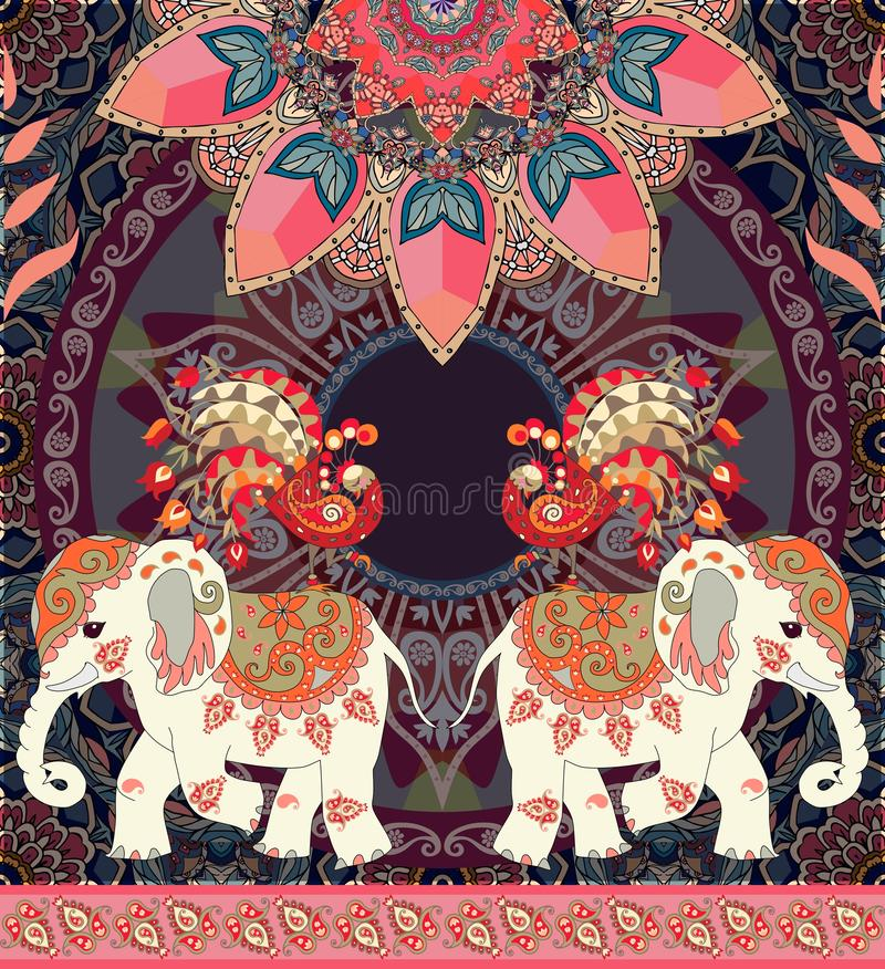 Tappningbröllopinbjudan, hälsningkort eller lyxig sömlös retro modell med exotiska elefanter, påfåglar, mandalaen och paisley stock illustrationer