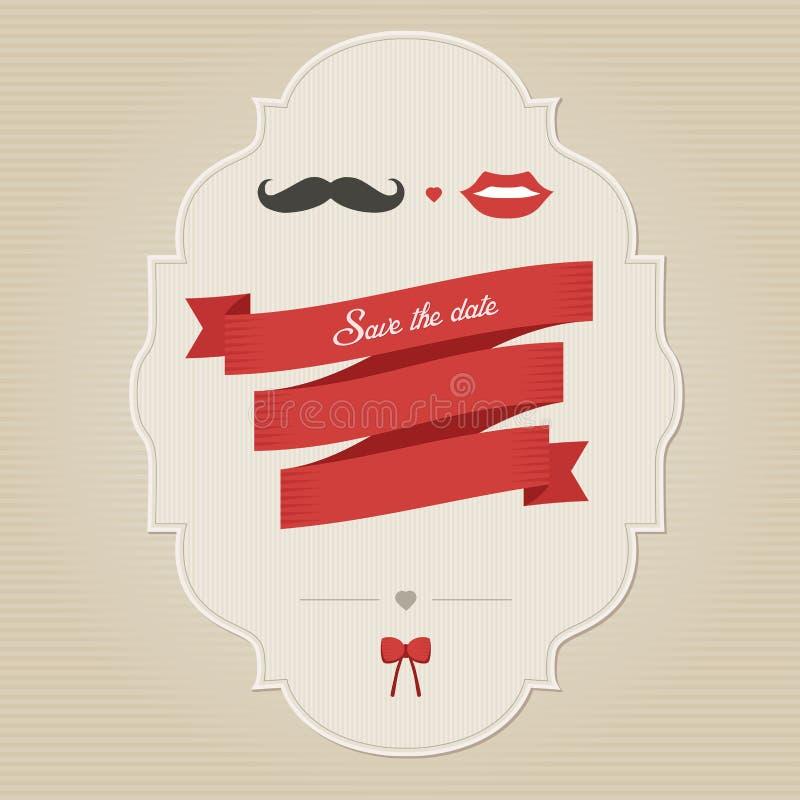 Tappningbröllopinbjudan med förlägger för text royaltyfri illustrationer