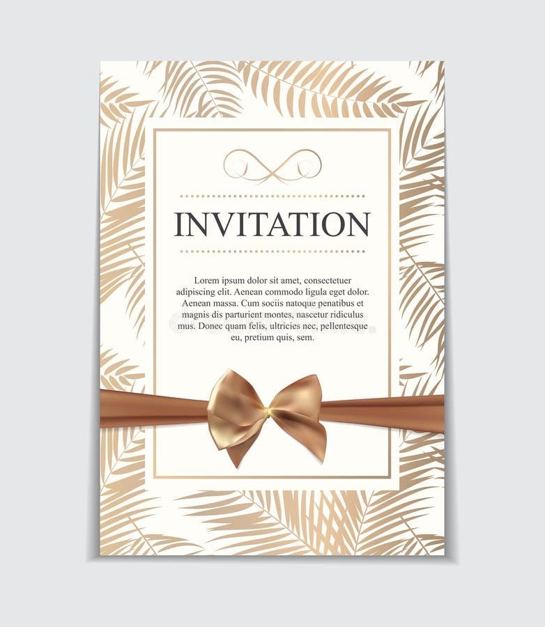 Tappningbröllopinbjudan med pilbåge- och bandmallvektor I vektor illustrationer