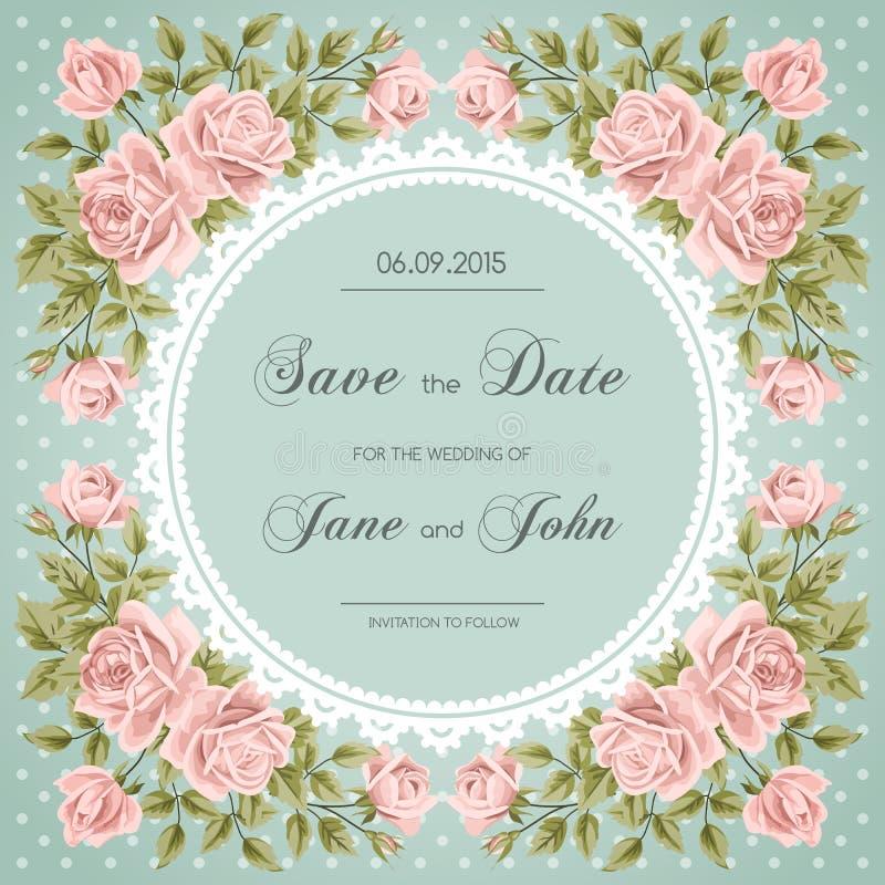 Tappningbröllopinbjudan med rosor stock illustrationer