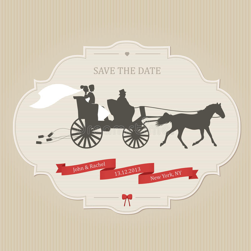 Tappningbröllopinbjudan med släpande cans för retro vagn stock illustrationer