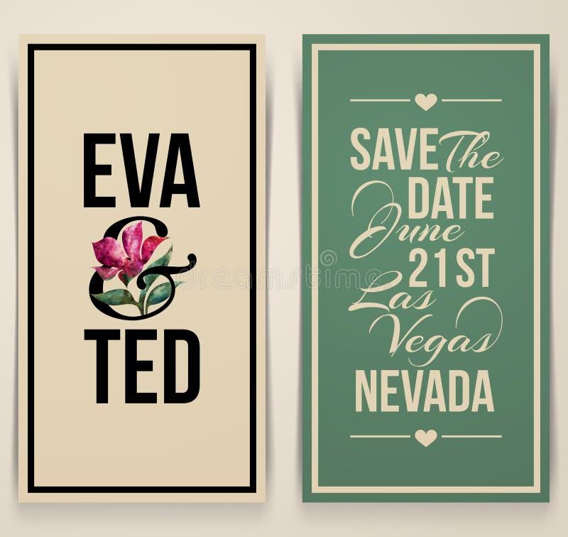 Tappningbröllopkort med den rosa tulpan. Vektorillustration stock illustrationer
