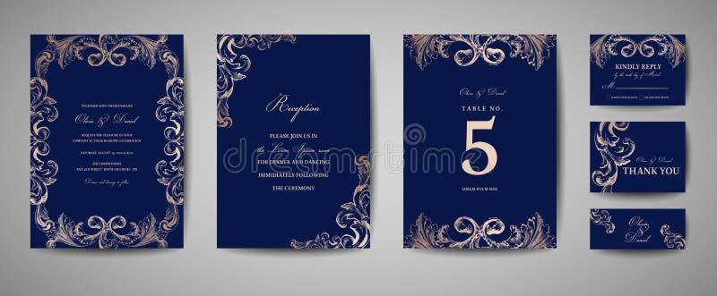 Tappningbröllopräddning datumet, inbjudankort royaltyfri illustrationer