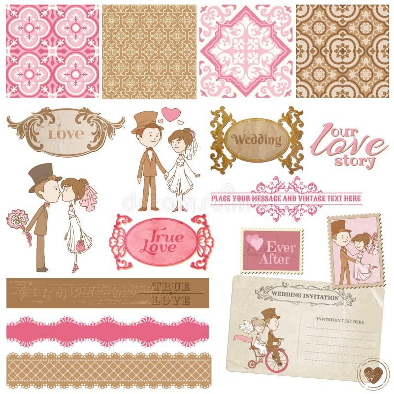 Tappningbröllopuppsättning royaltyfri illustrationer