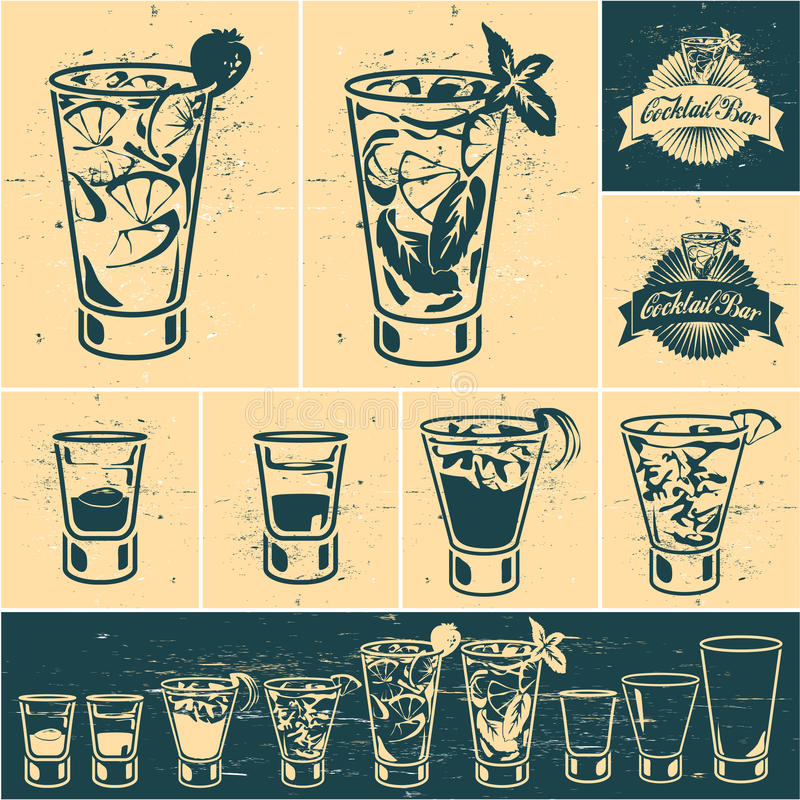 Tappningcoctailsamling stock illustrationer