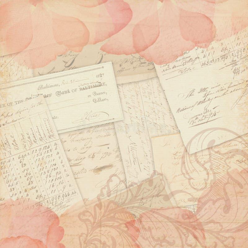 Tappningcollagebakgrund - urklippsbokpappersdesign - materiel för blandat massmedia - Rose Petals och Ephemera stock illustrationer