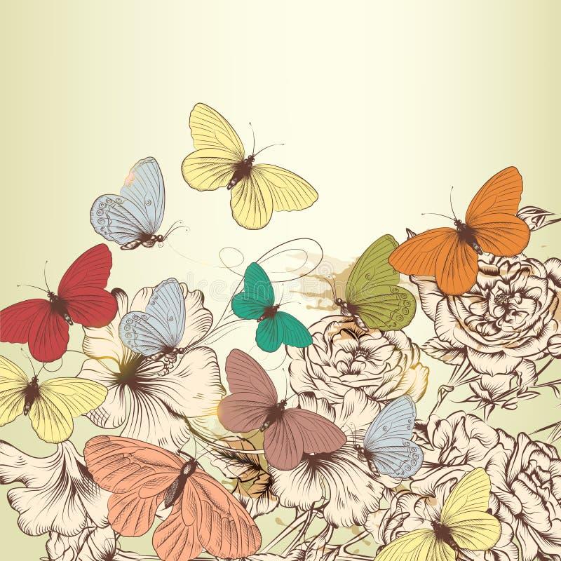 Tappningdesignen med den drog vektorhanden blommar och fjärilar vektor illustrationer
