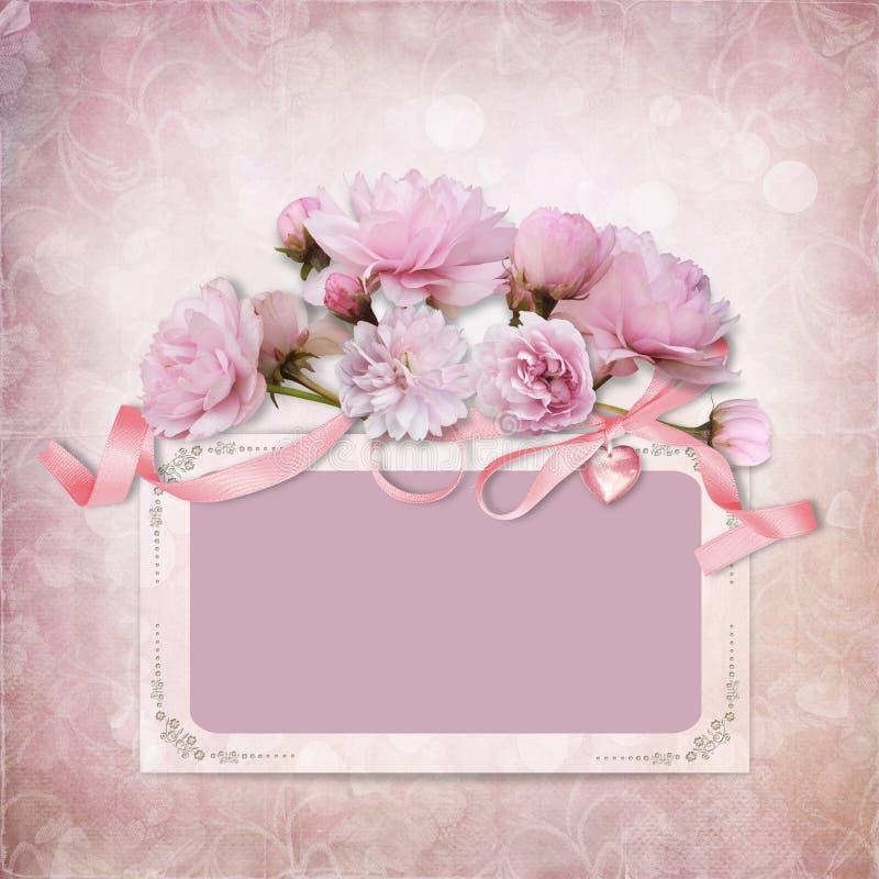 Tappningelegansbakgrund med ramen och rosor stock illustrationer